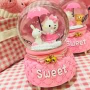 粉色儿童生日礼物kt猫送女生朋友闺蜜旋转发光水晶球音乐盒八音盒