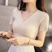 短袖女装V领上衣薄款针织衫短款打底衫女紧身毛衣秋季小心机
