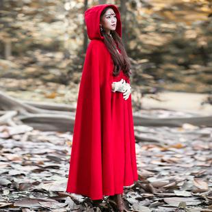 无心法师岳绮罗大红色斗篷毛呢大衣女外套复古小红帽披风秋冬