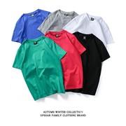 纯棉纯色短袖t恤男女情侣装彩色打底衫学生宽松bf风夏装百搭T恤潮