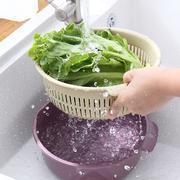 双层塑料洗菜篮厨房沥水篮家用多功能圆形果盘洗菜盆水果篮菜篮子