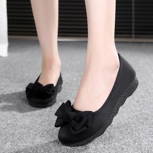 老北京布鞋女鞋平底软底豆豆鞋单鞋时尚舒适孕妇鞋黑色工作鞋