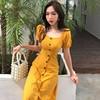 2018春季方领单排扣小性感连衣裙中长款短袖黄色裙子女装