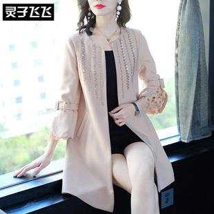 2018秋装外套端庄大气宽松中长款长袖钉珠蕾丝拼接薄款风衣女