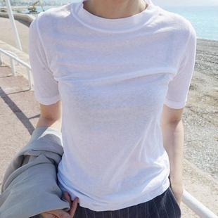 T69韩国女装代薄款简约百搭棉短袖套头夏女T恤打底洗水棉