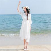 2018海边度假沙滩裙白色收腰长裙V领大码复古气质连衣裙女夏