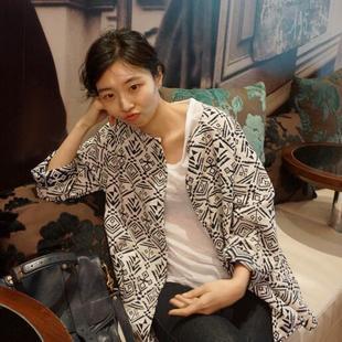 韩国女装圆领长袖几何图案简约秋季短外套G3420