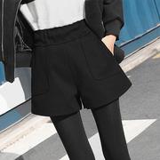 毛呢短裤女冬款高腰阔腿裤2018百搭外穿秋冬季打底厚靴裤