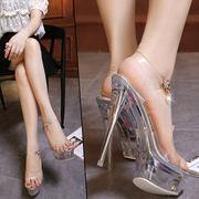 超高跟凉鞋女202014cm细跟防水台水晶鞋一字带钢管舞鞋仙女风