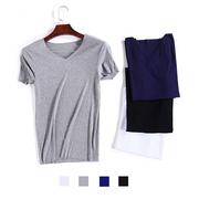 夏季男士莫代尔无痕短袖T恤V领显瘦螺纹纯色速干打底衫潮
