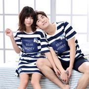 情侣夏季短袖睡衣纯棉男士可外穿家居服女士可爱卡通睡裙套装