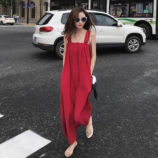 大红色度假泰国沙滩波西米亚阔腿连体裤套装宽松海边吊带背带裤