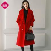 大红色毛呢外套女中长款2018秋冬装宽松加厚时尚呢子大衣