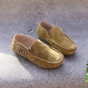 贝然童鞋男童真皮单鞋豆豆鞋复古缝线潮款秋款新鞋演出鞋