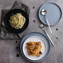 北欧创意陶瓷盘 家用餐具西餐盘牛排盘子 黑色平盘菜盘饭盘意面盘
