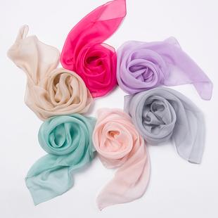 纯色桑蚕丝小方巾丝巾女士薄款真丝围巾儿童百搭纱巾春秋冬季