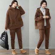 皇森冬装加厚羊羔毛连帽卫衣运动套装女宽松大码保暖二两件套