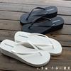 夏季坡跟人字拖女厚底松糕凉拖鞋防滑沙滩拖鞋黑色时尚夹脚拖