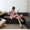 春秋韩国时尚小西装女外套粉色格子显瘦职业套装裤两件套