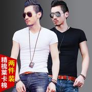 两件套莱卡棉男士短袖t恤纯色v领打底衫衣服男半袖体恤潮