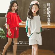 童装女童夏款短袖套装2018中大儿童时尚运动潮女孩两件套