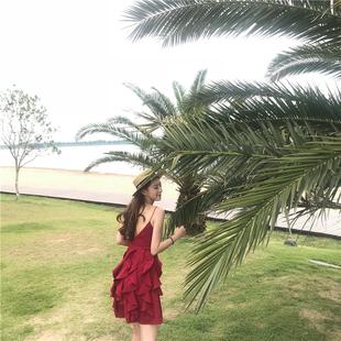 巴厘岛度假沙滩裙女2018泰国性感露背吊带裙普吉岛红色连衣裙