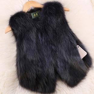狐狸毛马夹真皮草女士外套短款显瘦貉子毛背心坎肩秋冬小马甲