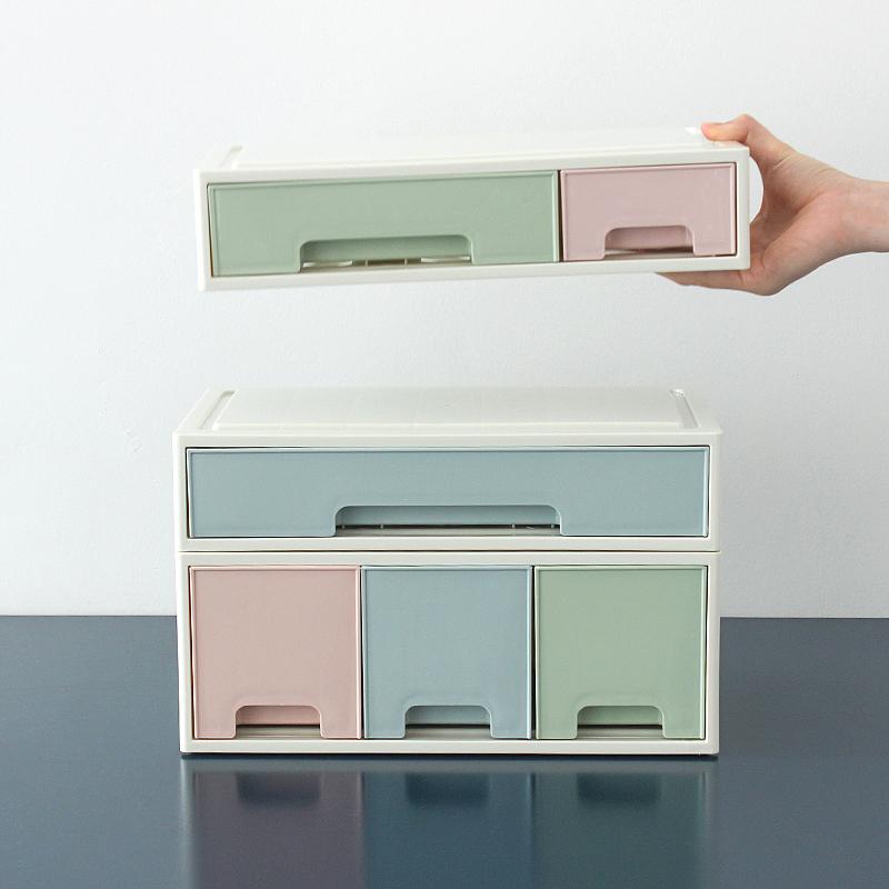 桌上首饰化妆品桌面收纳盒抽屉式小物品整理盒迷你塑料可爱置物架