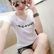 简约丅恤女短袖纯棉2018夏装T恤女字母半袖上衣小衫