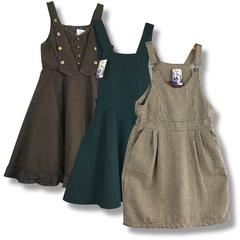 日本制复古 古着森系小洋装秋冬款毛呢吊带背带连衣裙学院风